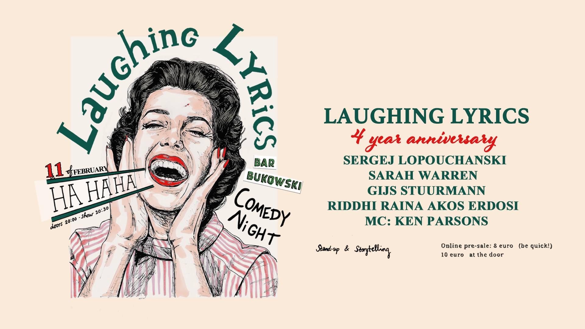 Ticket kopen voor evenement Laughing Lyrics Comedy Night- 4 year party!