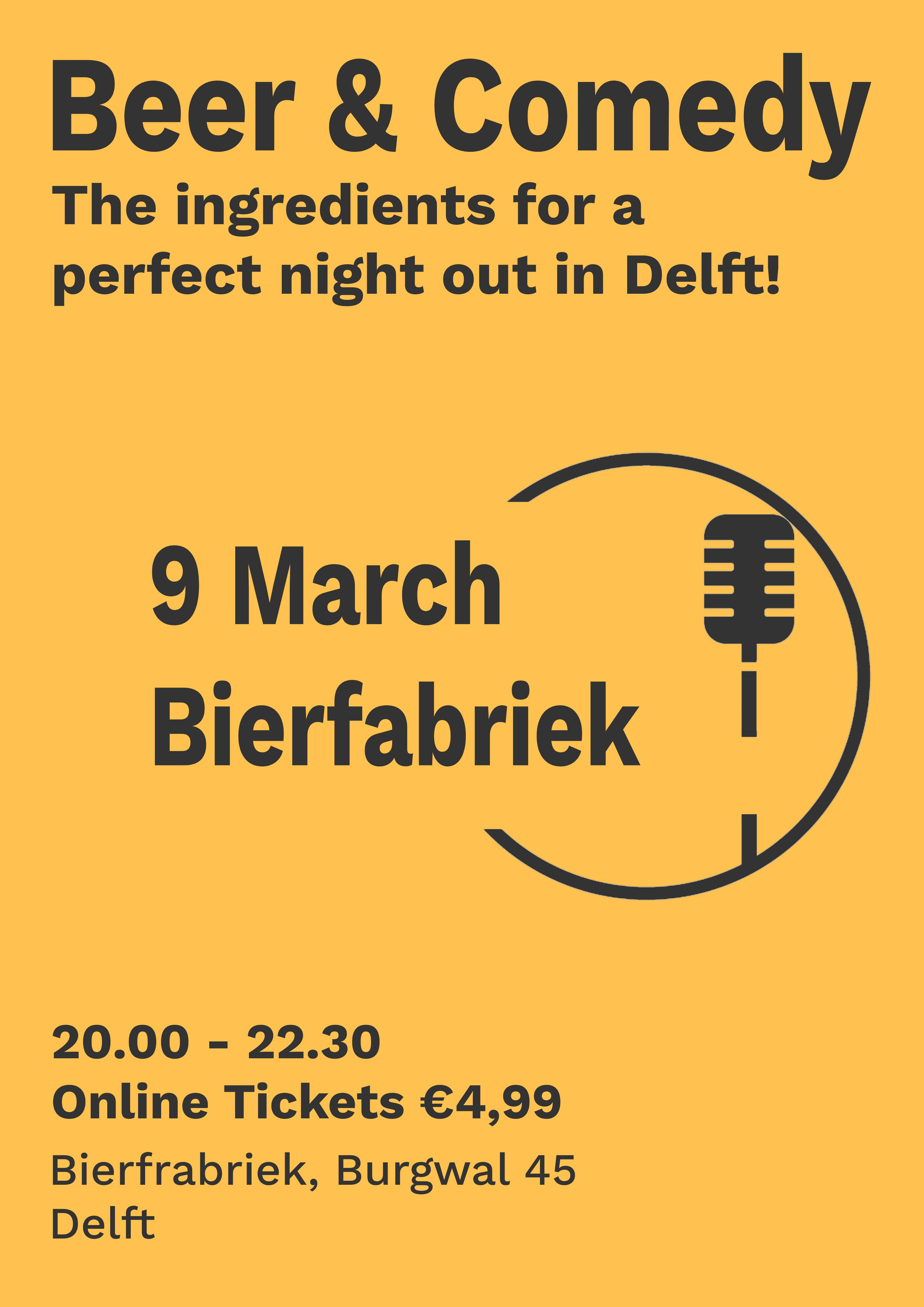 Ticket kopen voor evenement Beer & Comedy Delft