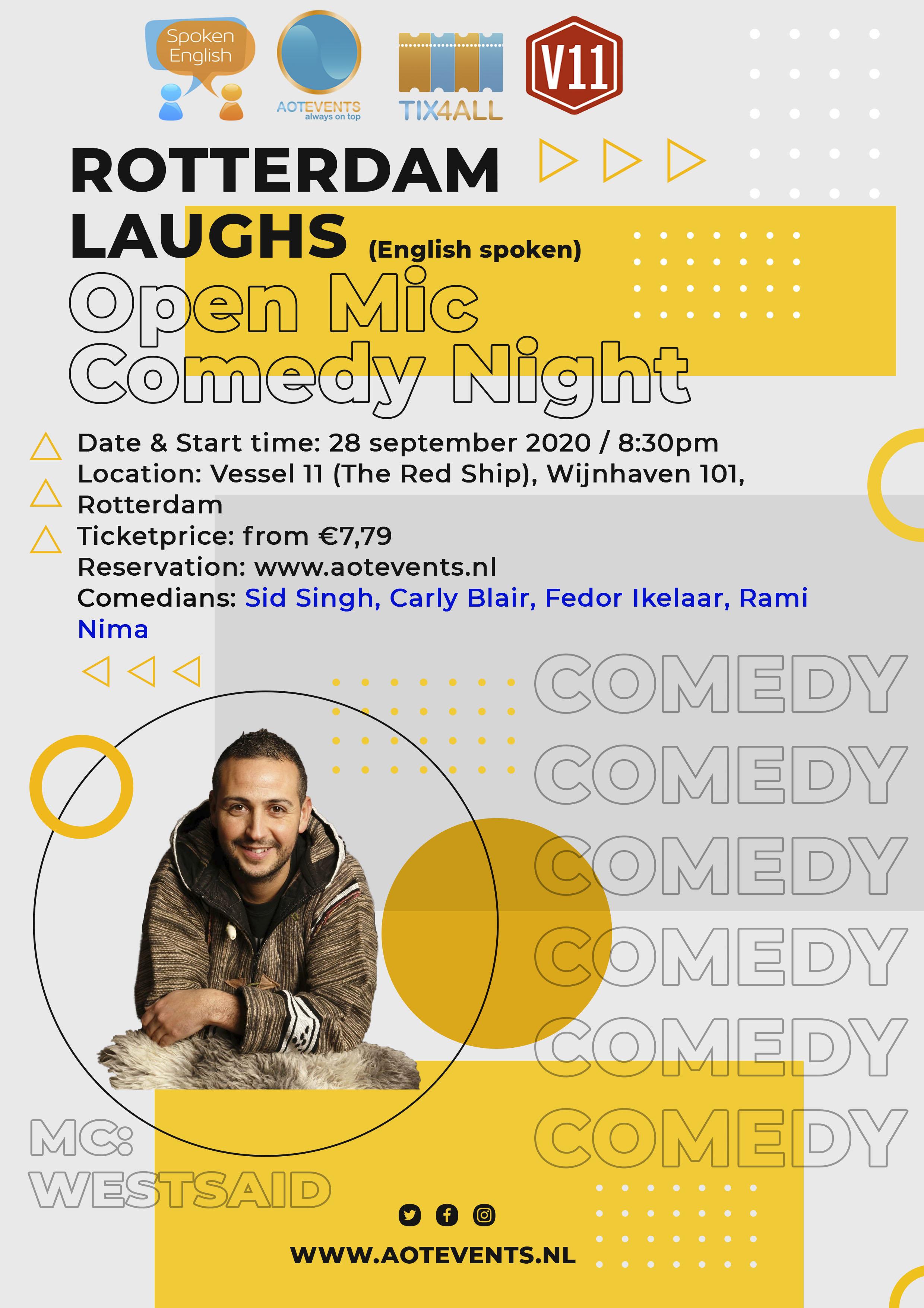 Ticket kopen voor evenement Rotterdam Laughs: Open Mic, SILENT Comedy Night